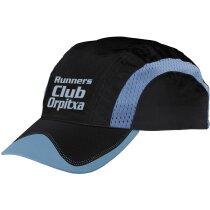 Gorra de microfibra con bandas reflectantes personalizada negra