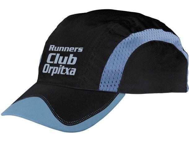 Gorra de microfibra con bandas reflectantes personalizada negra a99d6705463