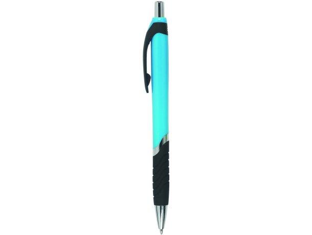 Bolígrafo de plástico con sujeción en negro personalizado azul