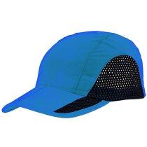 Gorra de microfibra con colores combinados merchandising azul