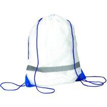 Mochila petate de color blanco con esquinas de color personalizada azul