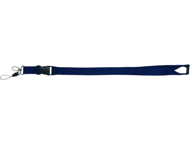 Lanyard  con cierre de seguridad en cuello personalizado azul