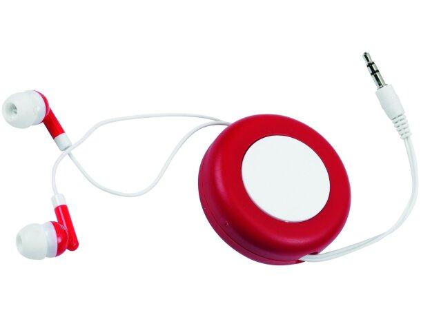 Auriculares con recogecable personalizado rojo