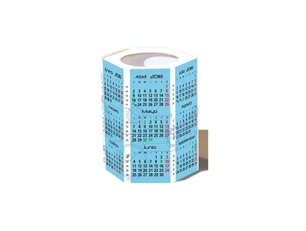 Botes calendario de mesa con forma exagonal automontable