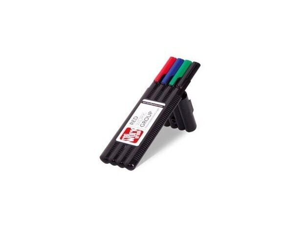 Conjunto de cuatro rotuladores de colores variados