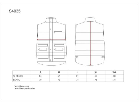 Tabla medidas del producto 81615